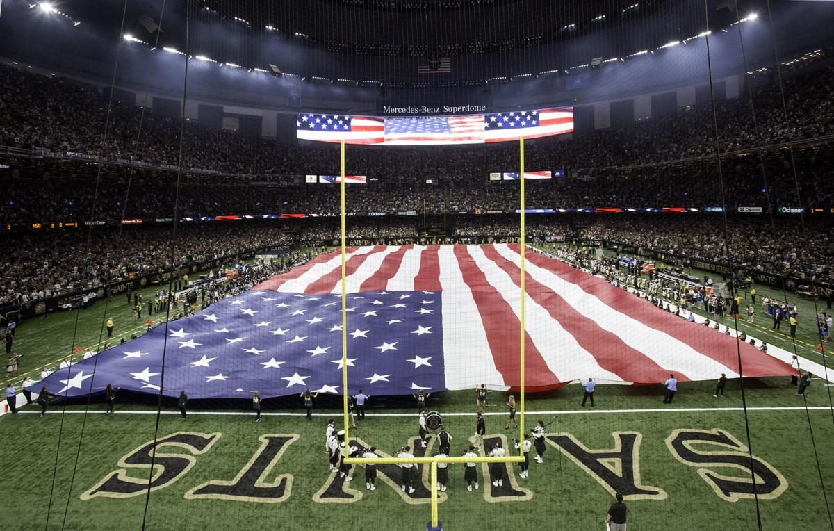 American flag in superdome